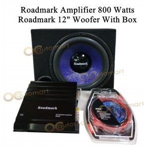 """Roadmark Set Amplifier R20 and 12 inch Woofer With Box Roadmark 2ch Amp 12""""  Woofer With Box installation Wire Kit"""