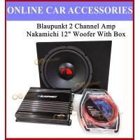 """Blaupunkt 2 Channel Amp and Nakamichi 12"""" woofer Set 2Ch Amplifier 12 inch Woofer With Box Installation Wire Kit"""