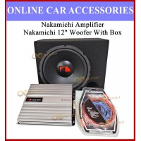 """Nakamichi Amplifier and 12 Inch Woofer Set 2 Channel Amp Nakamichi 12"""" Woofer With Box And Installation Wire Kit"""